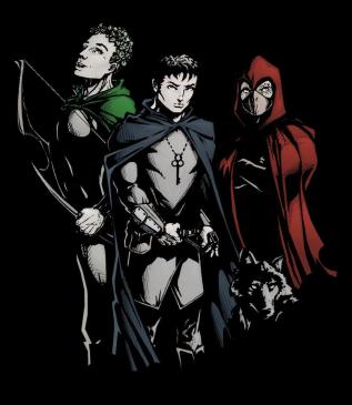 Adom, Corin, Delf, Nightfang -- Black background